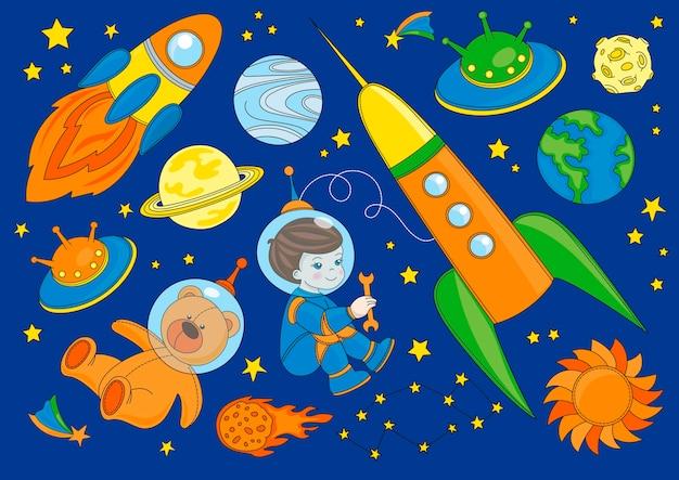 Little spaceman vector illustration set