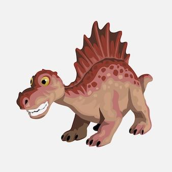 小さなスピノサウルス。漫画の恐竜の写真。かわいい恐竜のキャラクター。フラットは白い背景で隔離。
