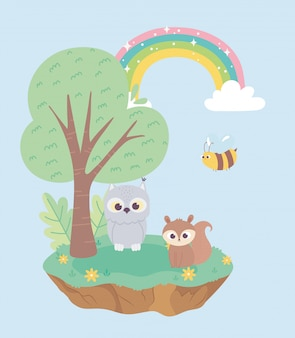 Little squirrel owl and bee animals flowers tree cartoon