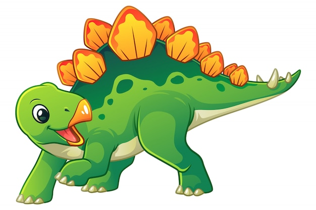 Little stegosaurus cartoon illustration