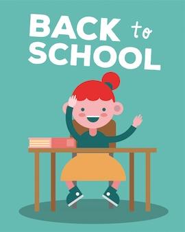 학교 책상 만화 캐릭터에 작은 학생 소녀