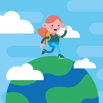 행성 만화 캐릭터에 걷는 어린 학생 소녀