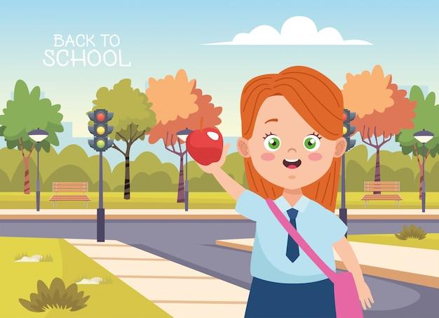 Маленькая студентка с униформой