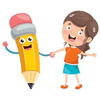 Маленький студент играет с карандашом