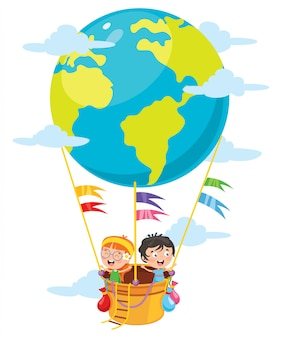 Little students flying with planet earth balloon
