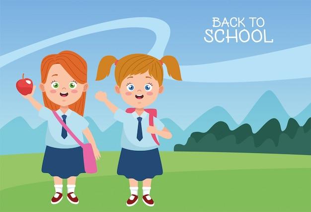 Маленькие ученицы девочки с мундирами персонажей