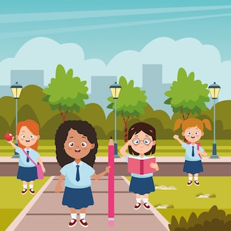 Little students girls with uniforms characters