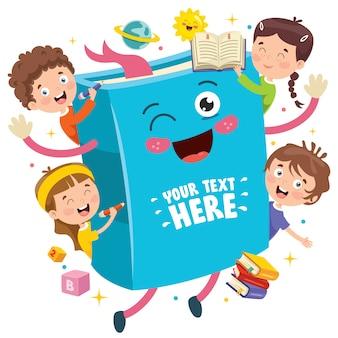 本で遊ぶ小さな学生