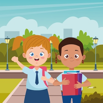 Little students with uniforms in the street characters