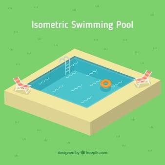 Маленький бассейн в изометрической стиле