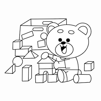 Little teddy playing with blocks premium coloring page