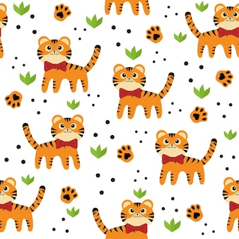 작은 호랑이 패턴, 색 벡터 격리 만화 스타일 그림.
