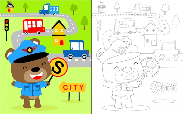 Little traffic cop cartoon