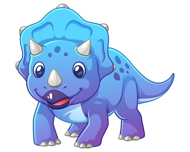 Little triceratops cartoon illustration