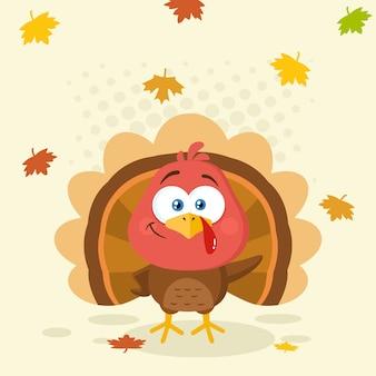 Little turkey bird cartoon character waving