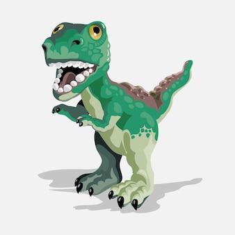 小さなティラノサウルス。漫画の恐竜の写真。かわいい恐竜のキャラクター。フラットは白い背景で隔離。