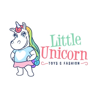 Little unicorn girl mascot logo