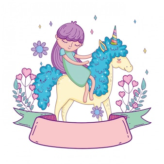 Little unicorn and princess with wreath flowers