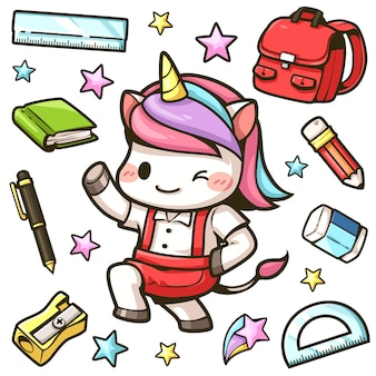 Little unicorns go to school and stationery