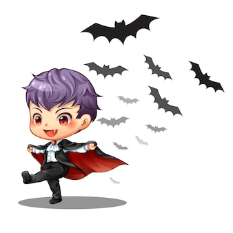 A little vampires boy and bat on halloween