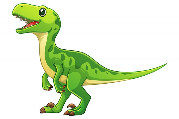Little velociraptor cartoon illustration