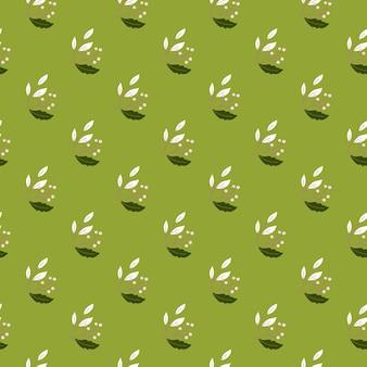 小さな白いベリーの枝は、植物のスタイルでシームレスなパターンを形作ります