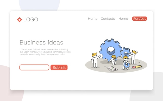 Little white people working installing gears. landing page concept.