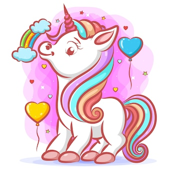 Маленький белый единорог с радужными волосами и розовым рогом