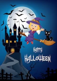 Little witch and black cat in the broomstick