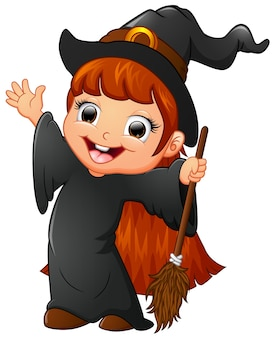 Little witch cartoon holding broom