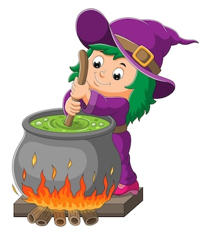 The little witch girl is mixing the potion on the pot of illustration