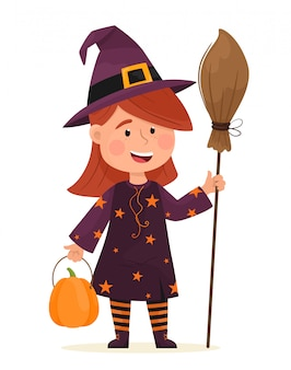 Little witch with a broom. happy halloween. illustration in flat cartoon style.