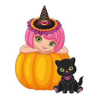 Маленькая ведьма с котенком на хэллоуин. векторные иллюстрации шаржа