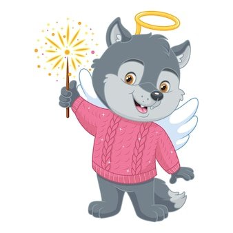 Little wolf in costume angel with firework on white background