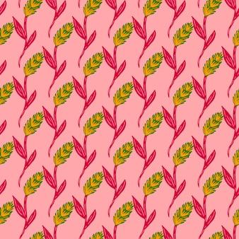 Маленький желтый и зеленый колос элементов пшеницы печати. розовый фон. природный орнамент сельского хозяйства. графический дизайн оберточной бумаги и текстуры ткани. векторные иллюстрации.