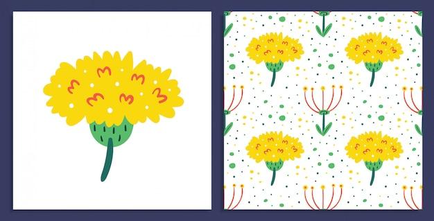 小さな黄色のタンポポの花。野の花はがき。シームレスな花柄。フローラデザイン要素。野生生物、花が咲く、植物。フラットカラフルなイラスト
