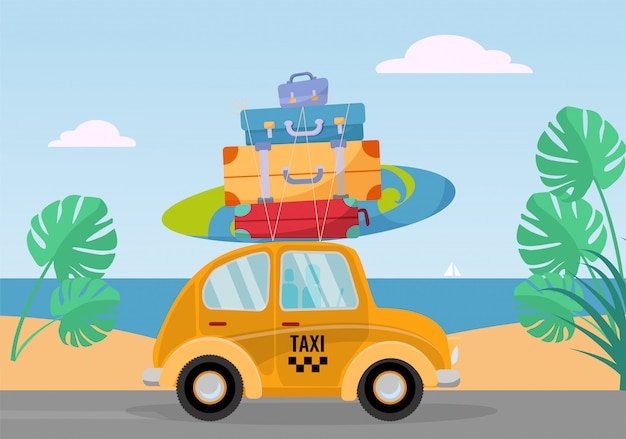 Little yellow retro taxi car rides from the sea with stack of suitcases on roof. flat cartoon  illustration. car side view with surfboard. southern landscape with sand. taxi transfer on vacation