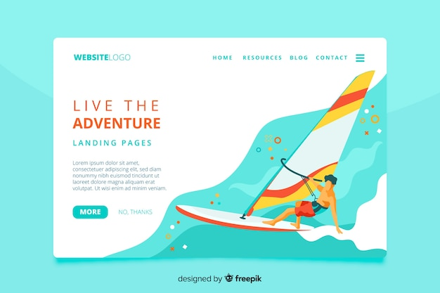 Live the adventure landing page