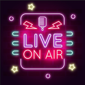 Live on air neon frame Free Vector