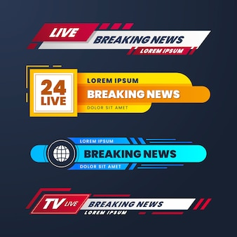 Live breaking news banners style