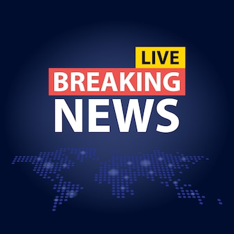 Live breaking news headline in blue dotted world map background.