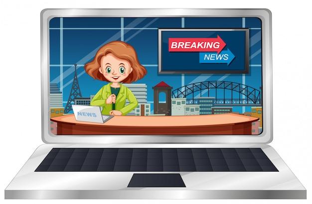 Live breaking news on laptop screen