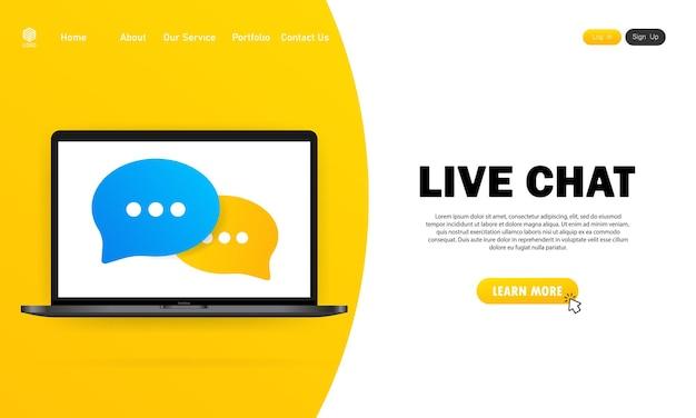 Баннер живого чата. значок сообщения в плоском дизайне на ноутбуке. коммуникация. знак разговора. вектор на изолированном белом фоне. eps 10.