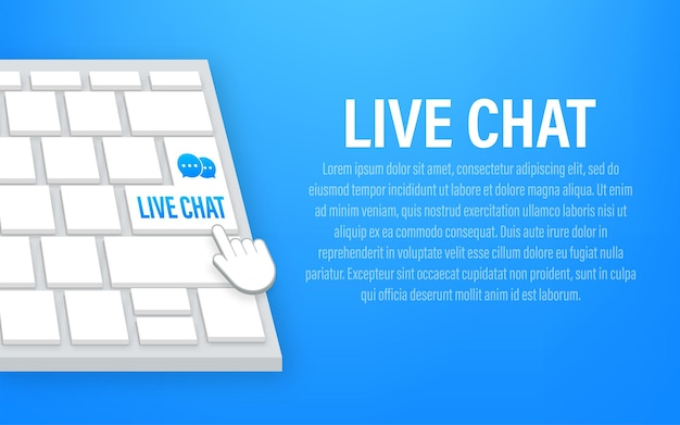 Live chat button on keyboard. vector stock illustration.