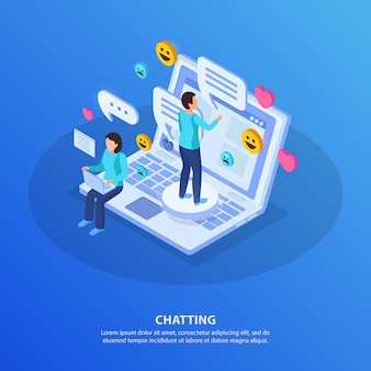 Live chat conversation online isometric composition with people standing sitting on laptop typing messages