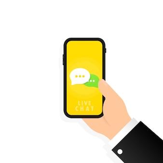 Живой чат в телефоне. онлайн-сервис 24 7. значок сообщения в смартфоне в плоском дизайне. коммуникация. знак разговора. вектор на изолированном белом фоне. eps 10