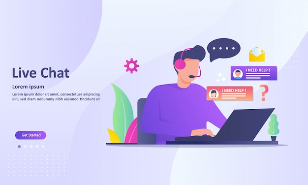 Live chat service concept