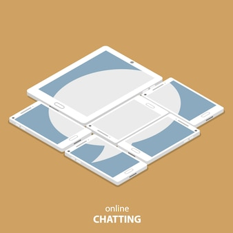 Live chatting flat isometric vector illustration