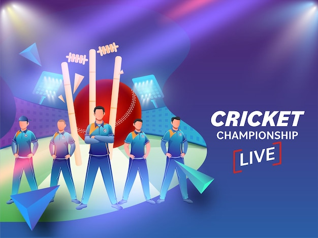 Live cricket championship concept with cartoon cricketer players
