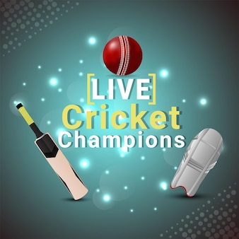 Live cricket championship match with cricket equipment